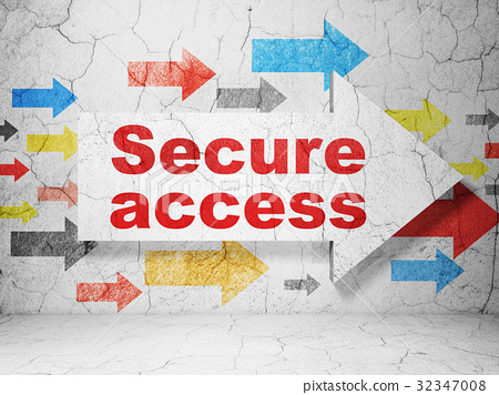 Safety concept: arrow with Secure Access on grunge 32347008