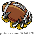 Monster animal claw holding American Football Ball 32349520