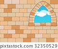 Window on Stone Wall - Vector Background Illustrat 32350529