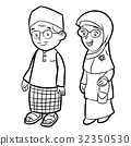 Line Drawing of Adult Malay Cartoon  Vector 32350530