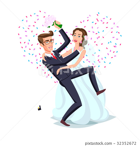 Just married funny couple, bride and groom dance 32352672