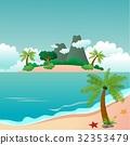 島 背景 海灘 32353479
