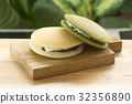 Green Tea and red bean Dorayaki Pan cake 32356890