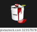 Bucket of red paint with the roller, 3d 32357678