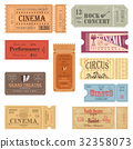 Retro tickets or old paper coupons for show 32358073