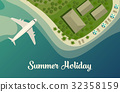 Exotic island with beach and bungalow, airplane 32358159