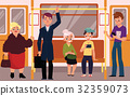 People in subway train car, sitting, standing and 32359073