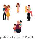 family, hug, vector 32359092