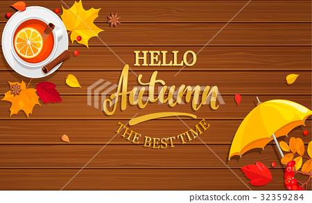 Hello Autumn banner on wooden background. 32359284