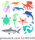 Silhouettes of various sea creatures.  32360348