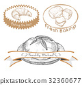 Set of labels for the baked product. 32360677