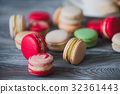 traditional french colorful macarons in a rows in 32361443