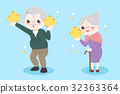 cute cartoon old couple 32363364