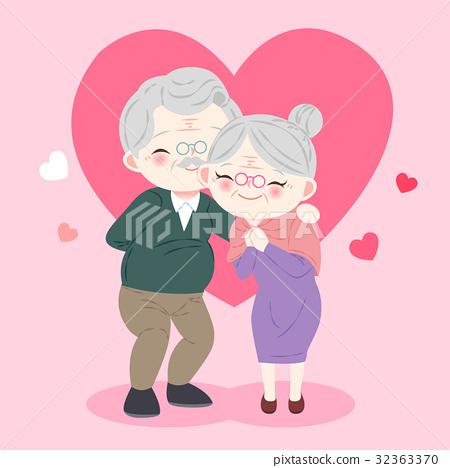 cute cartoon old couple 32363370