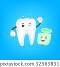 Cute cartoon tooth cleaning itself by dental floss 32363831