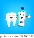 Cute cartoon tooth cleaning mouth by mouthwash.  32363832