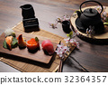 Sushi Set sashimi and sushi rolls with tea on wood background 32364357