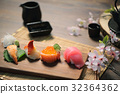 Sushi Set sashimi and sushi rolls with tea on wood background 32364362