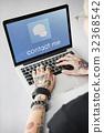 Hands Laptop Chat Conversation Bubble Graphic 32368542