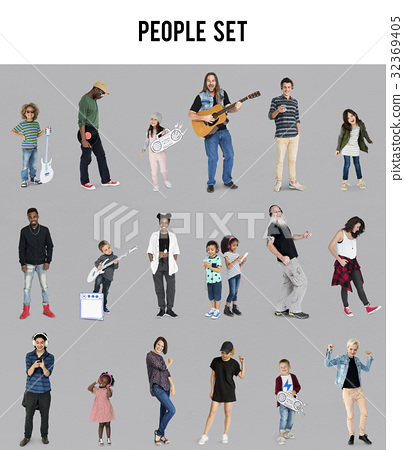Diverse of People Enjoy Music Lifestyle Studio Isolated 32369405