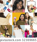 Set of Diverse Women Enjoying Sale Buy Shopping Studio Collage 32369665