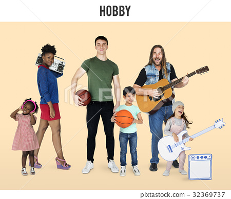 Diversity People with Hobby Music Sport Set Studio Isolated 32369737