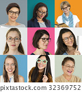 Collection of ladies with glasses smiling 32369752