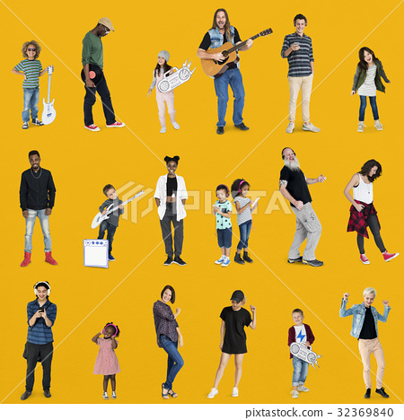 Diverse of People Enjoy Music Lifestyle Studio Isolated 32369840