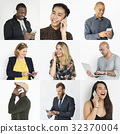Collection of diverse people using digital devices 32370004