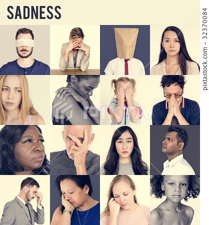Set of Diversity People Sad Face Expression Emotion Studio Colla 32370084