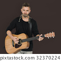 Men Musician Play Guitar Harmonica 32370224