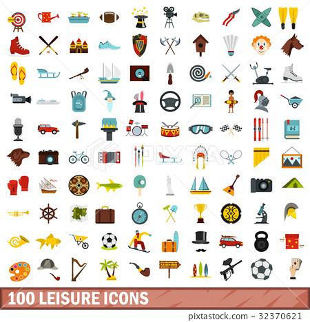 100 leisure icons set, flat style 32370621
