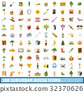 100 suburban house icons set, cartoon style 32370626