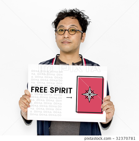 Man holding network graphic overlay banner 32370781