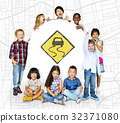 Children holding network graphic overlay banner 32371080