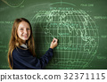 Young Student in Uniform with Chalk Board 32371115