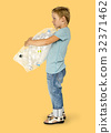 Ecology little boy holding bag of plastic bottle for recycle 32371462