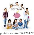 Piggy Bank Money Savings Future Investment Word Graphic 32371477