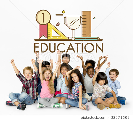 Group of students education with stationery illustration 32371505