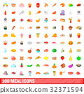 100 meal icons 32371594