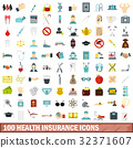 100 health insurance icons set, flat style 32371607