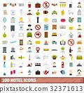 100, hotel, icons 32371613