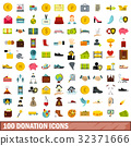100 donation icons set, flat style 32371666