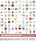 100 health care icons set, flat style 32371691