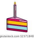 Piece of birthday cake with candle icon 32371848
