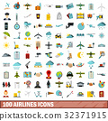 100 airlines icons set, flat style 32371915