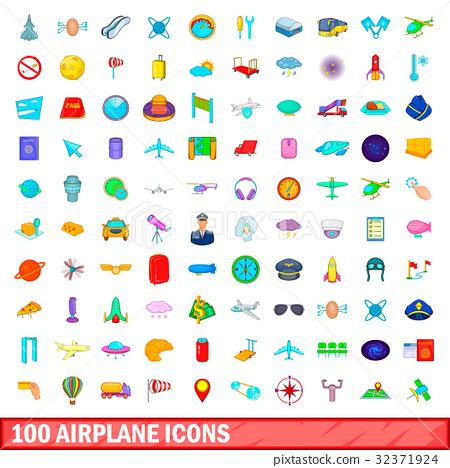 100 airplane icons set, cartoon style 32371924