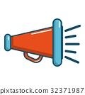 Red retro megaphone icon, cartoon style 32371987