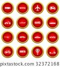 Transportation icon red circle set 32372168