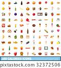 100 calories icons set, cartoon style 32372506